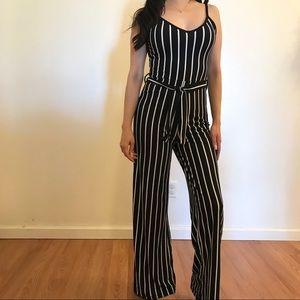 Pants - •LAST ONE• Striped Tie Waist Jumpsuit